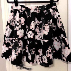 Express floral black & pink skirt
